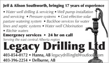 Legacy Drilling Serving the east central Alberta region