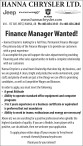 Finance Manager Wanted!