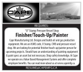 """U"" Stamp Pressure Vessel Shop Finisher/Touch-Up/Painter Required"