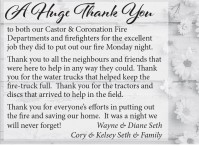Thank You to both our Castor & Coronation Fire Departments and firefighters